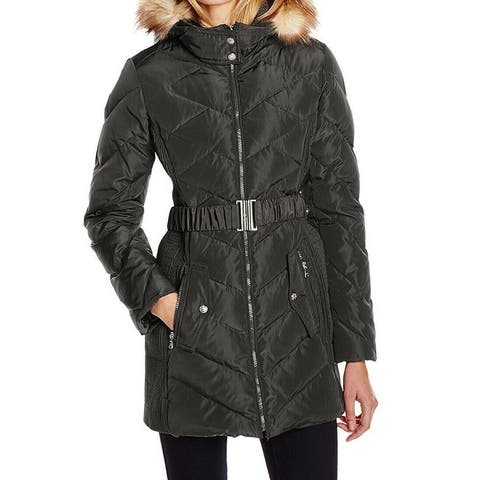 Jessica Simpson Womens Coat Black Size Large L Puffer Belted Hooded