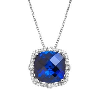 "Cushion-Cut Created Sapphire and Diamond Pendant in Silver (1/5 cttw, I-J Color, I2-I3 Clarity), 18"" - Blue"