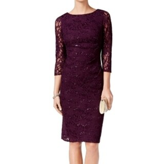Jessica Howard NEW Purple Sequin Lace Women's Size 12 Sheath Dress