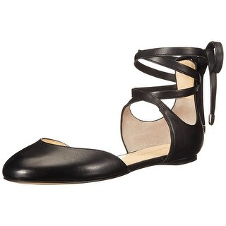 Ivanka Trump Womens Elise Leather Closed Toe Ankle Wrap Ballet Flats (More options available)