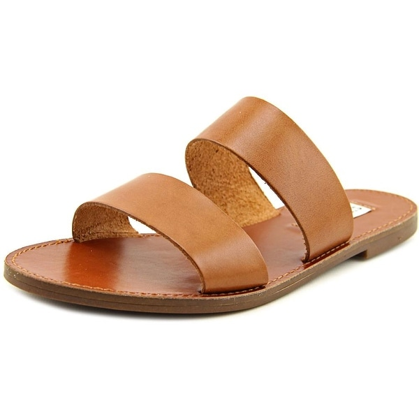 Steve Madden Malta Women Open Toe Leather Tan Slides Sandal