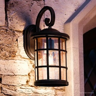 "Luxury Craftsman Outdoor Wall Light, 17.75""H x 10""W, with Tudor Style, Wrought Iron Design, Parisian Bronze Finish"