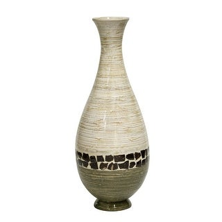 """27"""" Spun Bamboo Floor Vase - Bamboo In Distressed White And Green W/ Coconut Shell"""