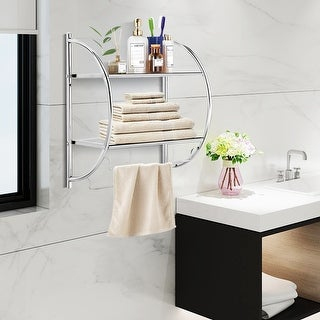 Gymax Wall Mount Shower Organizer Holder 2-Tier Bathroom Rack Storage Toilet Towel Bar
