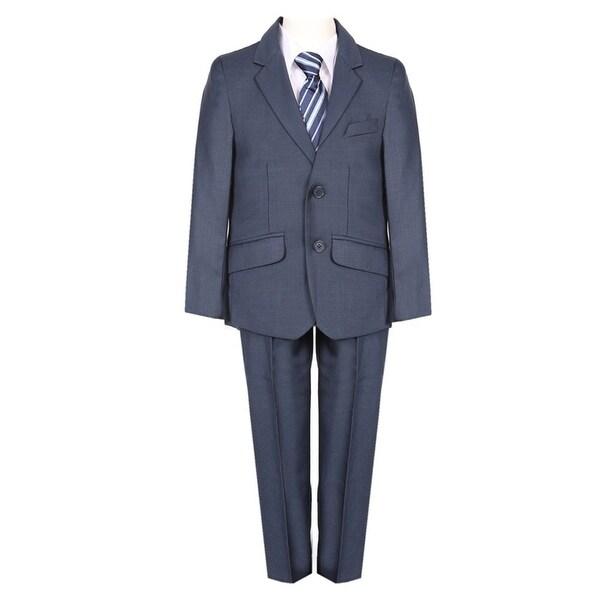 Boys Navy Blue Fancy 5 Piece Vest Jacket Pants Special Occasion Suit. Opens flyout.