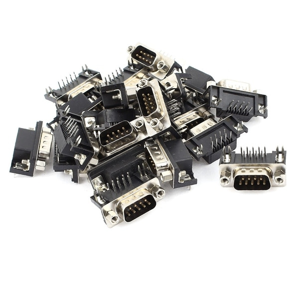 Unique Bargains 20 Pieces Panel Mount Right Angle DB9 RS232 Serial Male Socket Adapter Connector