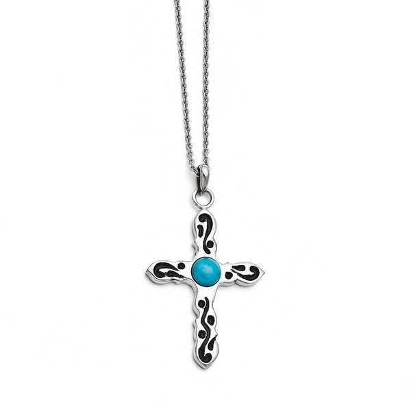 Chisel Stainless Steel Polished Imitation Turquoise Black Oil Cross Necklace (2 mm) - 20 in