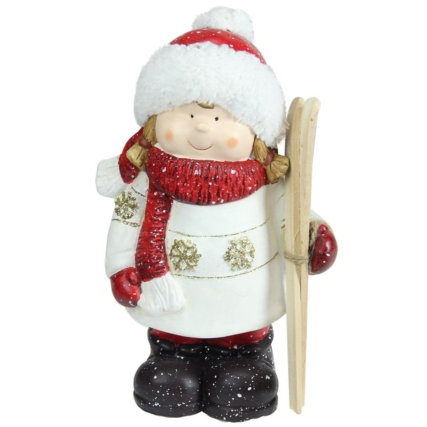 "11"" Christmas Morning Red & White Terracotta Girl with Skis Decorative Christmas Tabletop Figure"