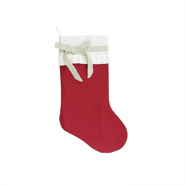 """21"""" Rustic Chic Red Burlap Christmas Stocking with Pleated Off-White Linen Cuff and Beige Bow - brown"""