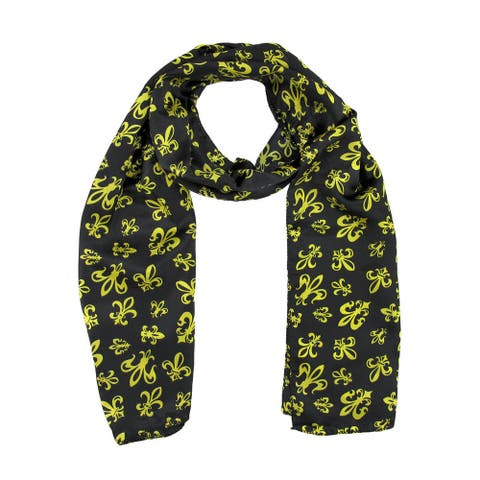Black Satin Scarf with Gold Fleur de Lis Designs - One Size