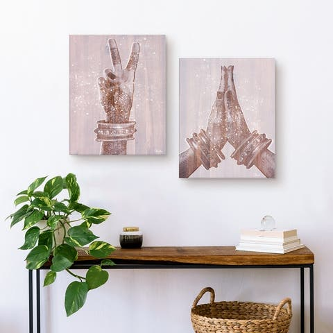 The Curated Nomad 'Peace and Namaste' 2-piece Art by Olivia RosePink