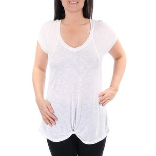 Womens Ivory Cuffed Scoop Neck Casual Top Size L