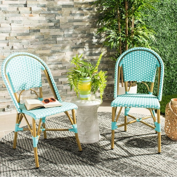 """SAFAVIEH Salcha Indoor-Outdoor French Bistro Teal/ White Stacking Side Chair (Set of 2) - 18""""x21.6""""x34.6"""". Opens flyout."""