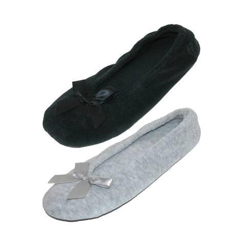 Isotoner Women's Terry Classic Ballerina Slippers (Pack of 2)