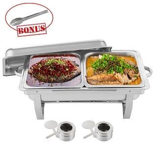 8QT Chafing Dish Sets Buffet High-Grade Catering Stainless Steel w/tray Folding Chafer - Silver