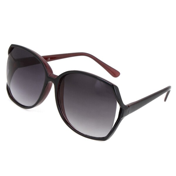 1137472b2f7 Shop Women Man Burgundy Black Plastic Frame Black Lens Sunglasses Sun Glasses  Eyewear - Free Shipping On Orders Over  45 - Overstock.com - 17629349