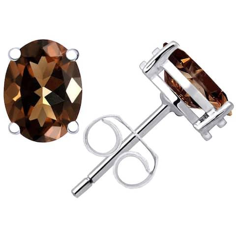 Smoky Quartz Sterling Silver Oval Stud Earrings by Essence Jewelry