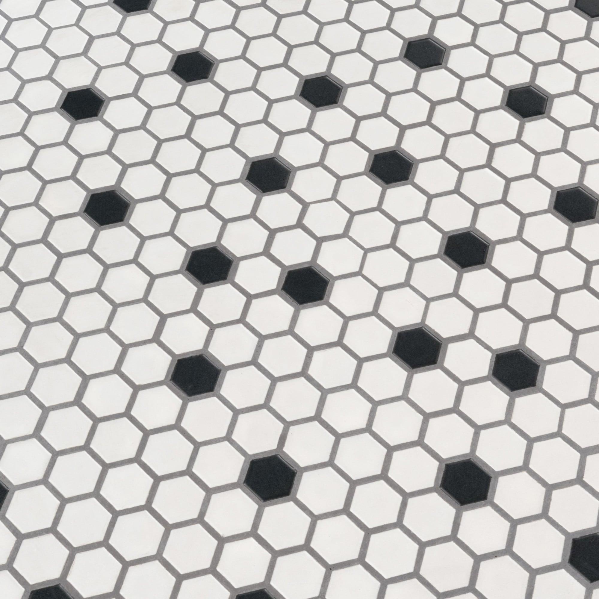 Msi N1x1hex Domino 1 X 1 Hexagon Mosaic Tile Matte Porcelain Visual Sold By Carton 19 09 Sf Carton Black White Overstock 29778075