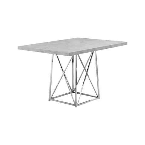 """Offex Dining Table - 36"""" x 48"""" Grey Cement/Chrome Metal - Not Available"""