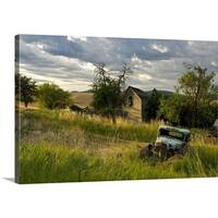 Premium Thick-Wrap Canvas entitled Rustic truck in wheat field - Multi-color