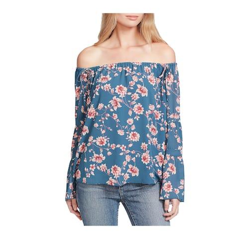 Jessica Simpson Blue Size XL Junior Floral Print Off Shoulder Blouse
