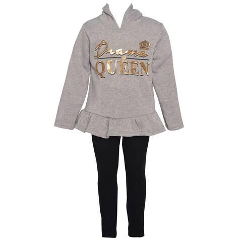 Little Girls Gray Black Gold Drama Queen Hooded Sweatshirt Leggings Outfit