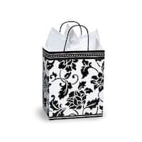 "Pack Of 25, Cub 8.25 X 4.75 X 10.5"" Floral Brocade Gloss Paper Shopping Bags Made In Usa"