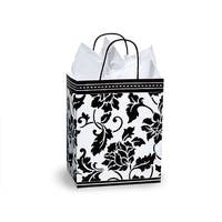 "Pack Of 250, Cub 8.25 X 4.75 X 10.5"" Floral Brocade Gloss Paper Shopping Bags Made In Usa"