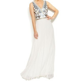 Xscape NEW White Sequined Bodice Women's Size 10 Empire Waist Dress