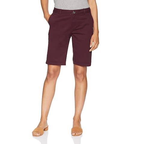 "Essentials Women's 10"" Inseam Solid Bermuda Short, Burgundy, Size 2.0 - 2"