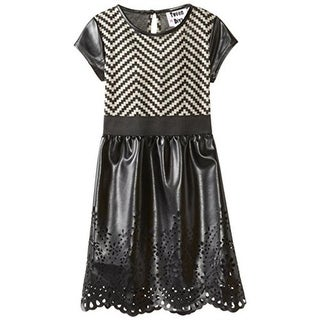 Tween Diva Girls Faux Leather Chevron Casual Dress - 16