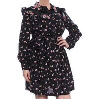 Jill Jill Stuart Black Women's Size Large L Ruffled Shirtdress