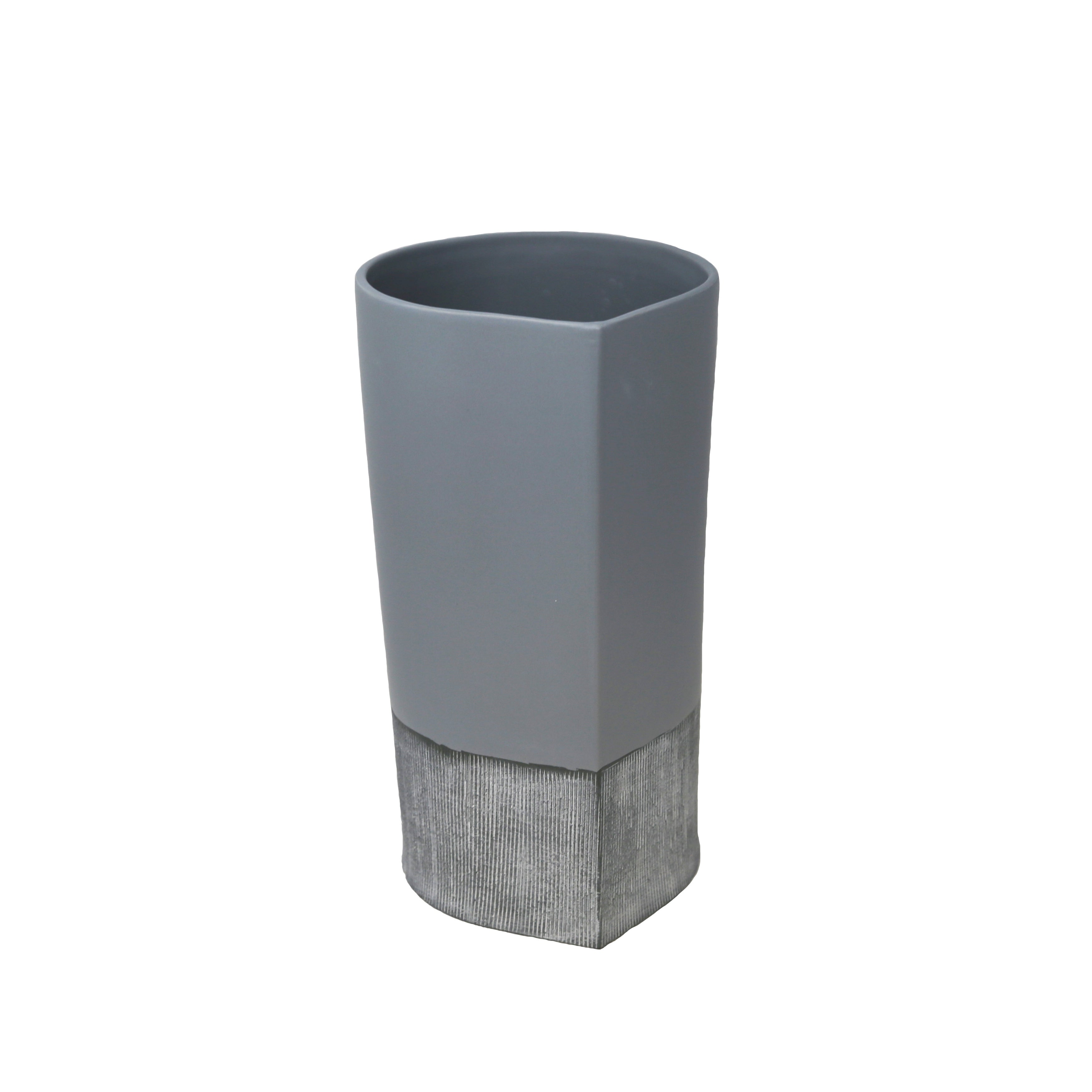 Ceramic  Vase With Wide Open Mouth And Small Base, Medium, Matte Gray