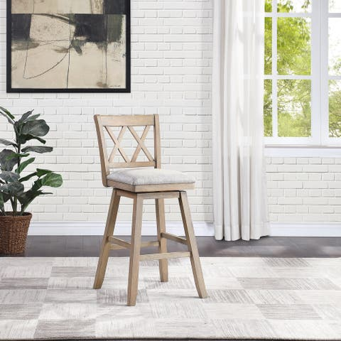 Wooden Swivel Stool with Linen Cushion