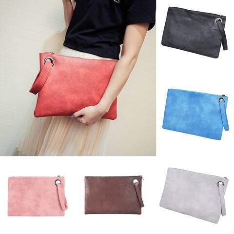 Women Faux Leather Solid Color Clutch Envelope Bag Large Capacity Handbag Gift