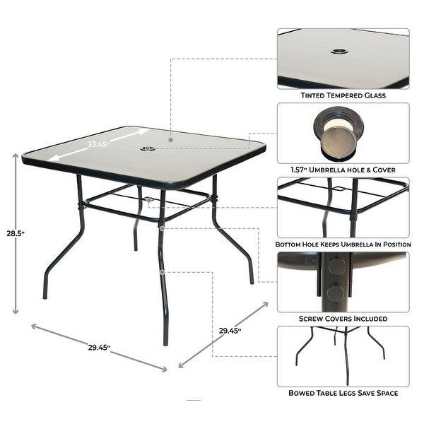 Patio Premier 6pc Patio Set - Square Table - Aqua
