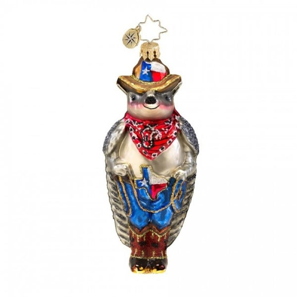 Christopher Radko Glass Lonestar Armadillo Christmas Ornament #1017556 - silver