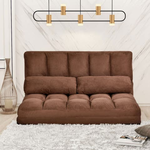 Double Chaise Lounge Sofa Floor Couch with Two Pillows