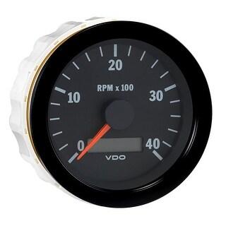 """VDO Vision Black 4,000 RPM 3-3/8"""" Tachometer w/Hourmeter - 12/24V"""