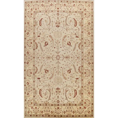 "All-over Floral Peshawar Oriental Wool Area Rug Handmade Carpet - 10'1"" x 14'0"""