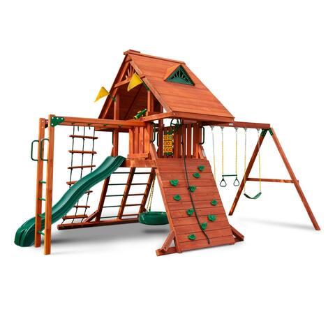 Gorilla Playsets Sun Palace II Wood Swing Set with Monkey Bars, Tire Swing, and Rock Wall