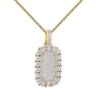 """Cluster Set Dog Tag Pendant Full Iced Out Hip Hop 2.0"""" Chain Mens 14k Gold Tone"""