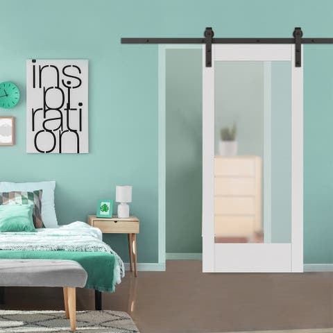 1-Lite White Vinyl Barn Door with Installation Hardware Kit