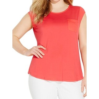 Calvin Klein Womens Plus Pullover Top Jersey Contrast Trim