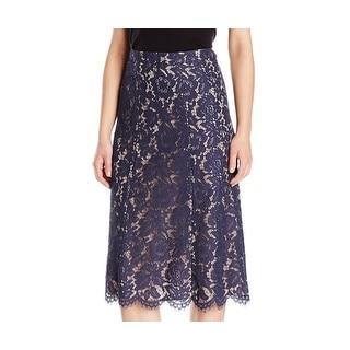 Anne Klein NEW Navy Blue Womens Size 14 Straight Eyelash-Lace Skirt
