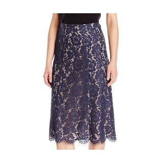 Anne Klein NEW Navy Blue Womens Size 8 Straight Eyelash-Lace Skirt