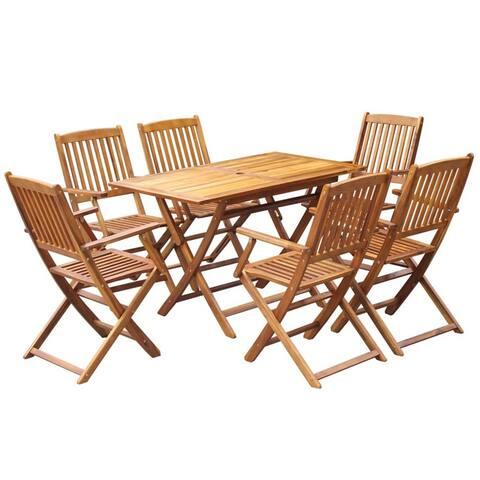 vidaXL Outdoor Dining Set 7 Piece Solid Eucalyptus Wood Garden Patio Furniture