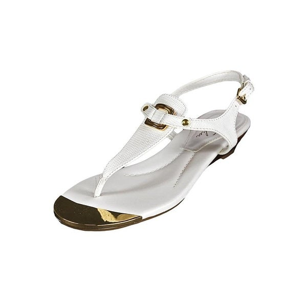 Marc Fisher Womens Barria Leather Split Toe Casual T-Strap Sandals