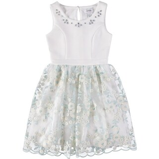 Speechless Girls 7-16 Jewel Neck Floral Dress - White