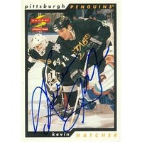 Kevin Hatcher autographed Hockey Card (Pittsburgh Penguins) 1996